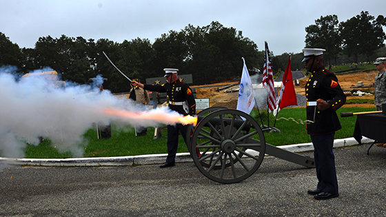 "The ""Jaime Lee"" Civil War Cannon was fired 3 times. Once for each Purple Heart."